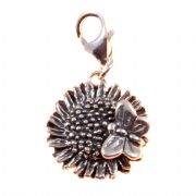 Sunflower With Butterfly 3D Sterling Silver Clip On Charm - With Clasp